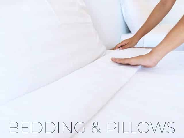 bedding and pillows for sleep