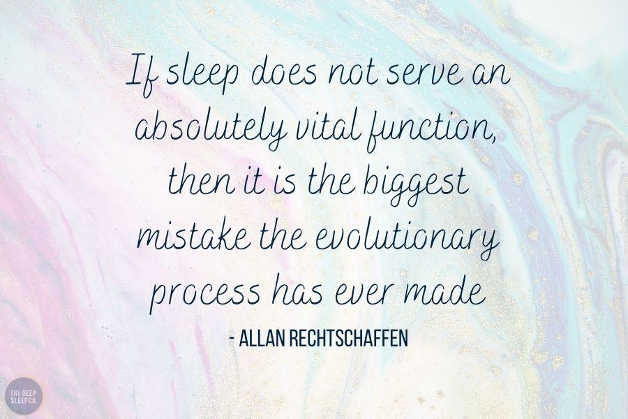 If sleep does not serve an absolutely vital function, then it is the biggest mistake the evolutionary process has ever made